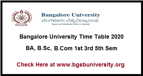 Bangalore University Time Table 2020