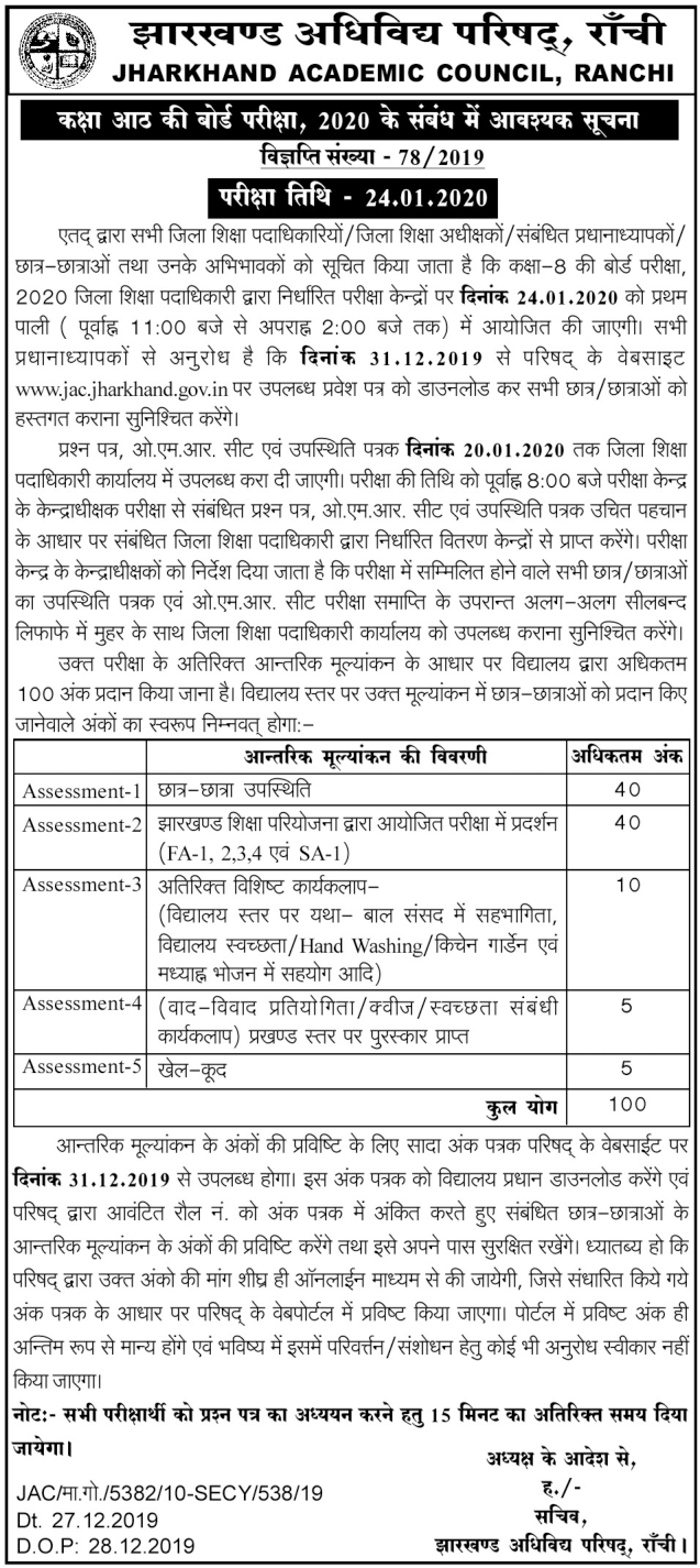 Jharkhand JAC Class 8th Admit Card 2020 Official