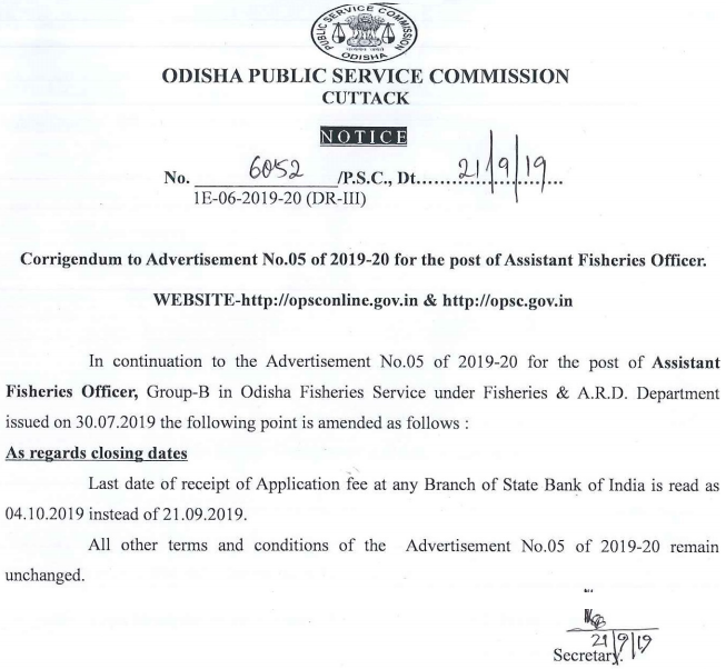 OPSC Important Notice