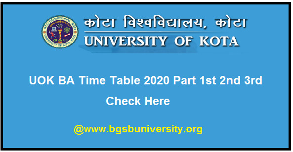 UOK BA Time Table 2020