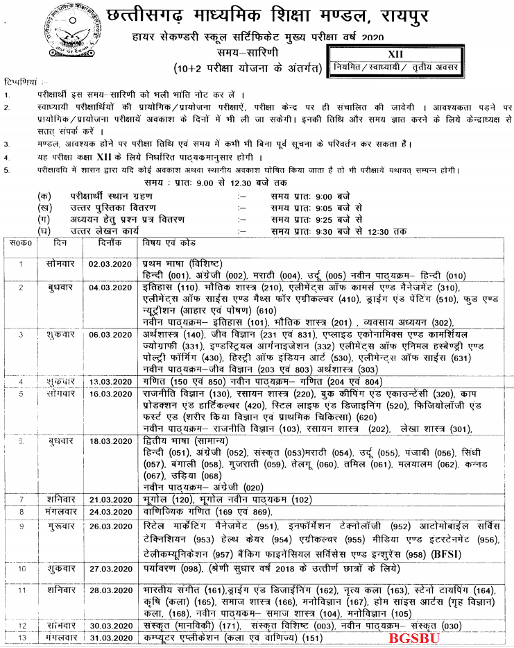 CG Board 12th 2020 Time Table Download at cgbse.nic.in