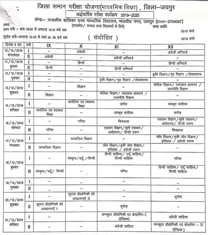RBSE Half Yearly Jaipur Time Table New