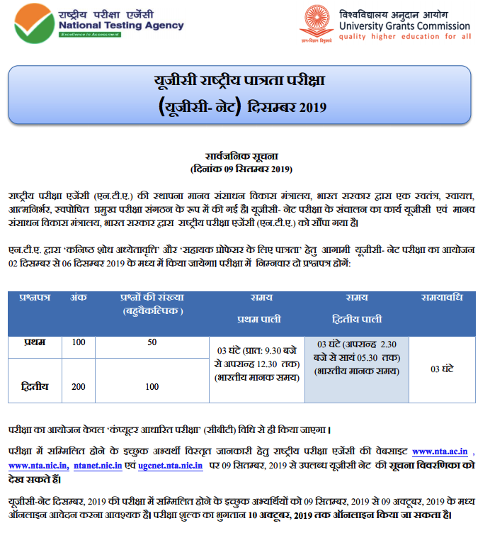 ugc net admit card download december 2019
