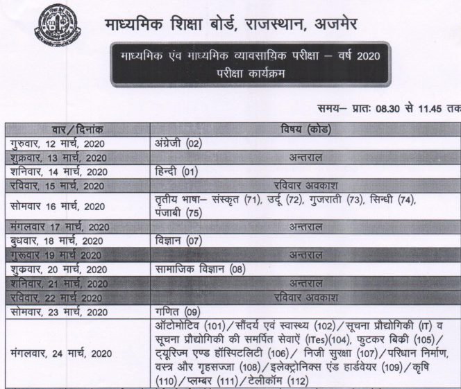 BSER 10th Board 2020 Time Table