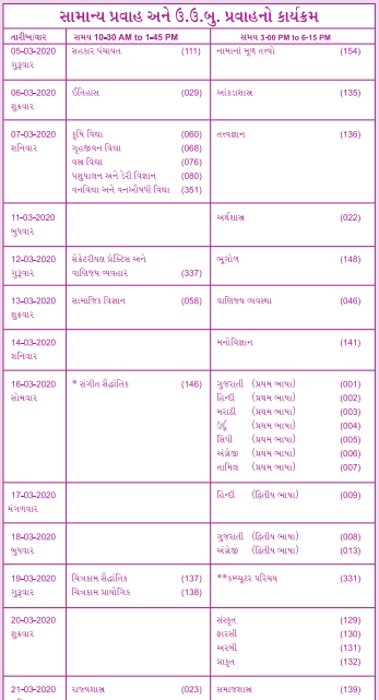GSEB General Time Table