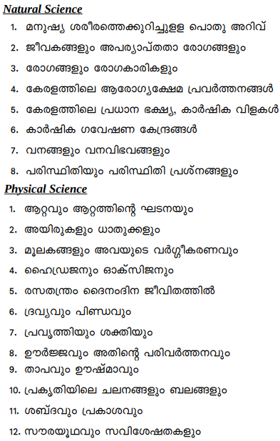 General Science Kerala PSC LDC Syllabus