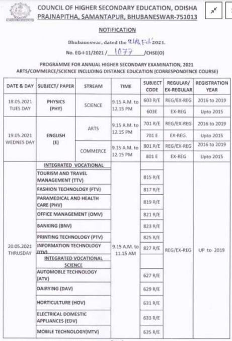 Odisha CHSE Exam Time Table