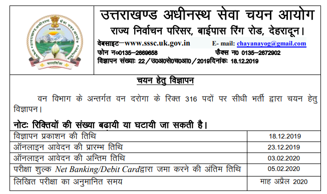 UKSSSC Forest Inspector Recruitment 2020
