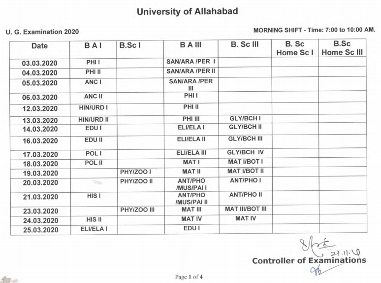Allahabad Univeristy Time Table