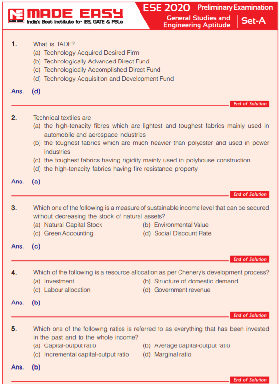 UPSC IES / ESE Prelims Answer Key 2020 (Released) 5th Jan SET (A,B,C,D)  Made Easy