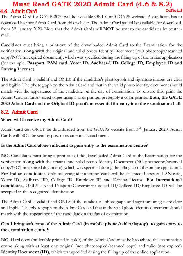 GOAPS GATE 2020 Admit Card Download Link Login