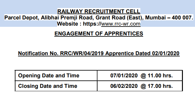 RRC WR Apprentice Recruitment
