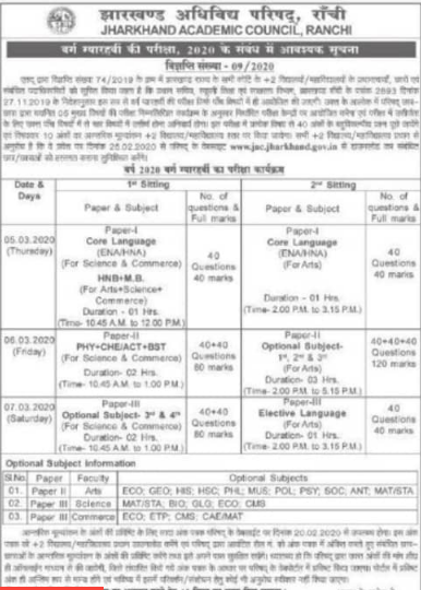 JAC 11th Time Table 2020
