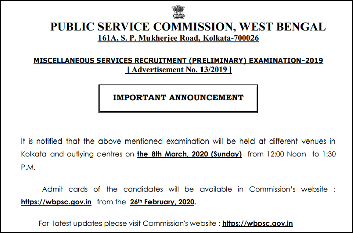 WBPSC Miscellaneous Services exam Date Notice
