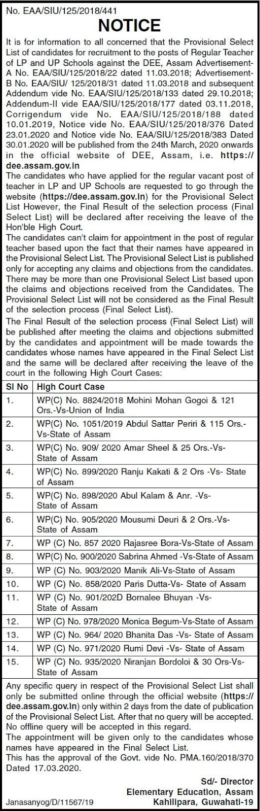 Assam DEE Teacher Merit List 2020
