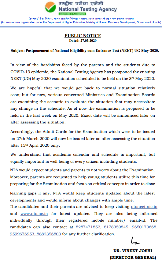 Neet Admit Card 2020 Exam Postponed New Exam Date Www Ntaneet Nic In