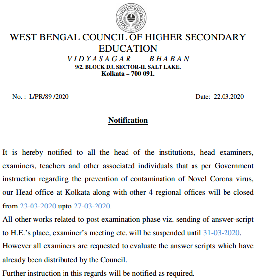 West Bengal 12th Class New Routine 2020 Date