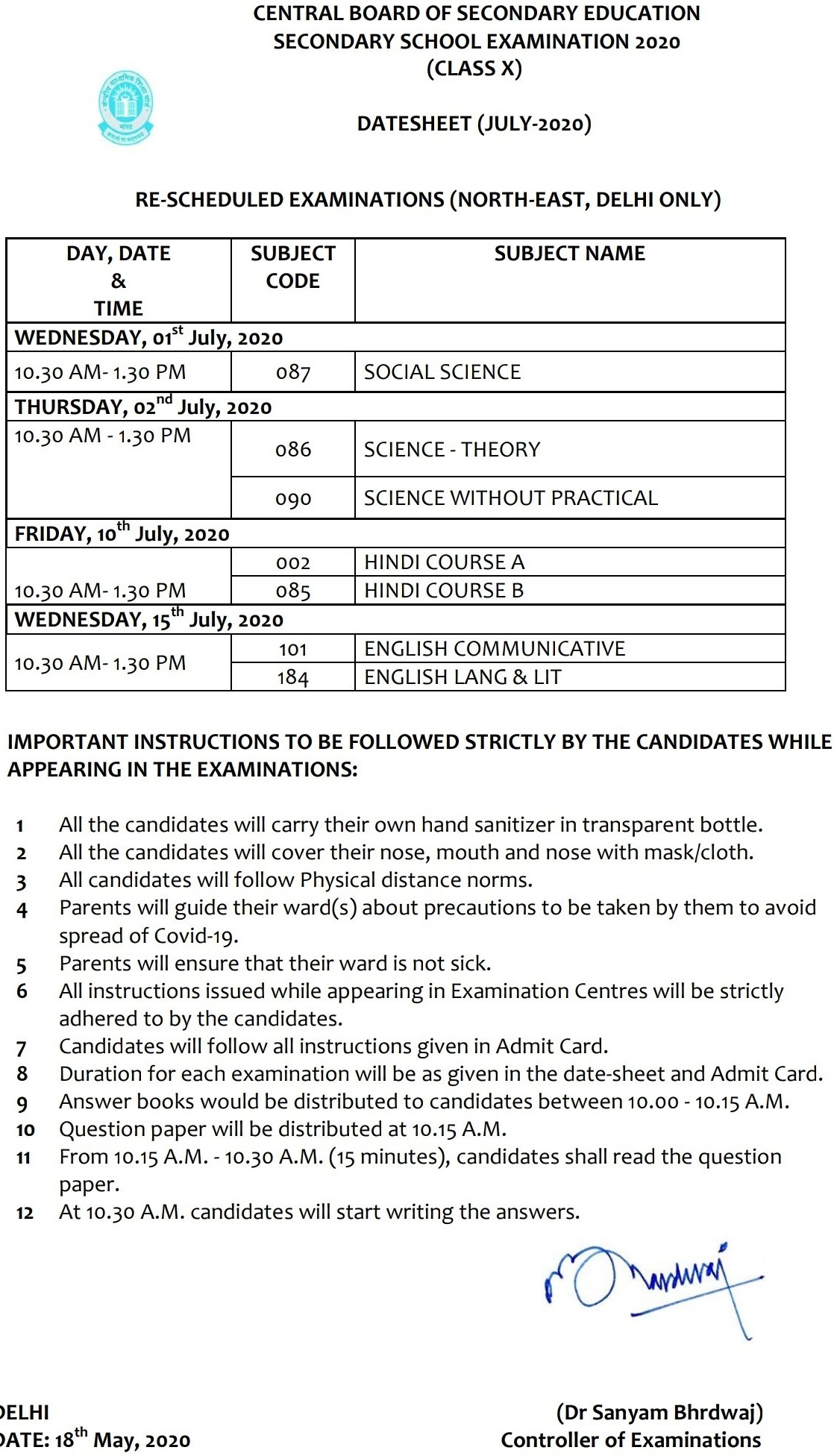 CBSE class 10th Date sheet 2020 for remaining exams