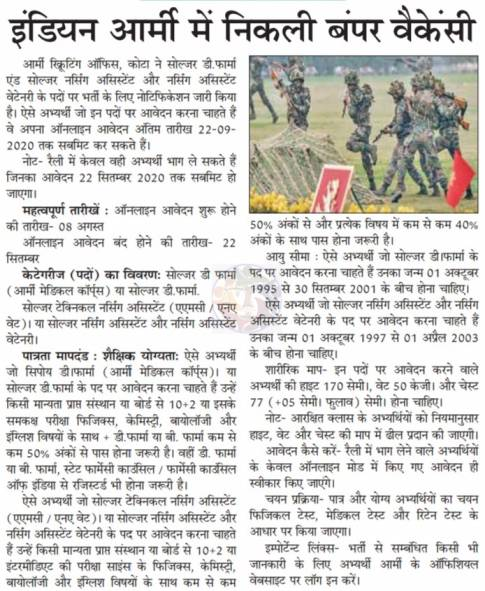 Indian Army Rally Bharti 2020-2021 Rajasthan notice
