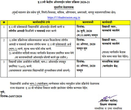FYJC timetable for online 2020-21 admission Pune, Mumbai