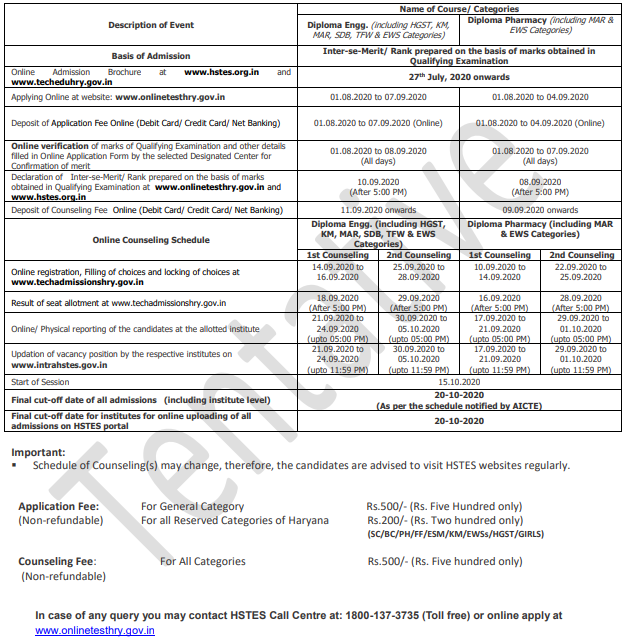 HSTES Admission Schedule 2020-21 or Applicatno and Counceling Fee