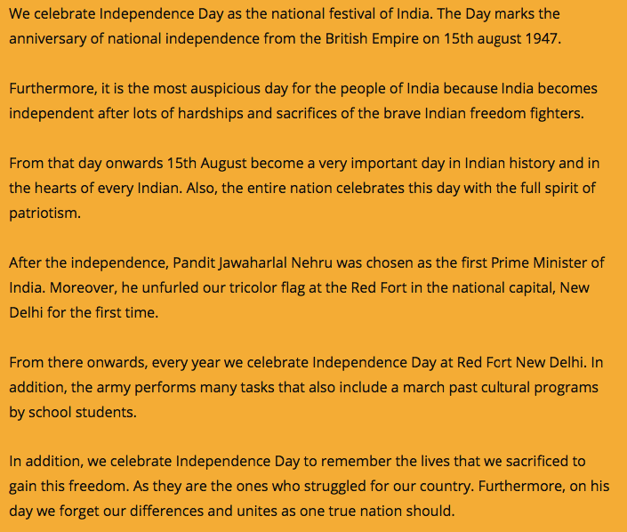 independence day speech 2020 in english for students