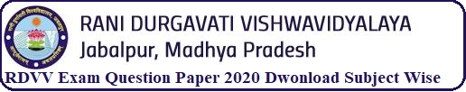 RDVV Exam Question Paper 2020 Download Subject Wise