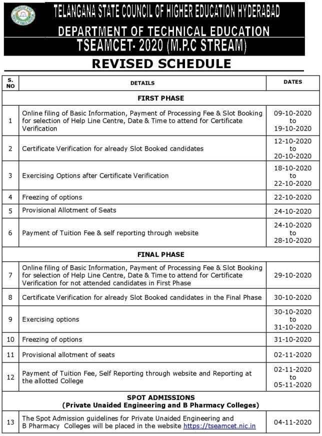 Schedule for TS EAMCET 2020 Seat Allotment