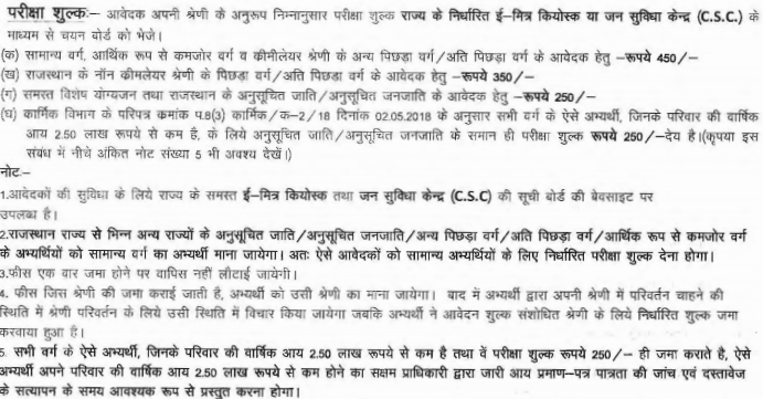 Exam Fee for Rajasthan Forest Guard