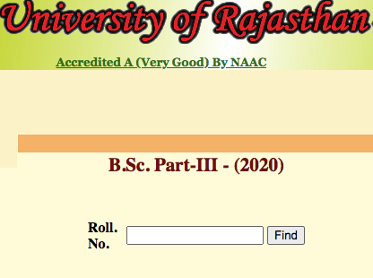 Uniraj BSc 3rd Year Result 2020 Rajasthan University