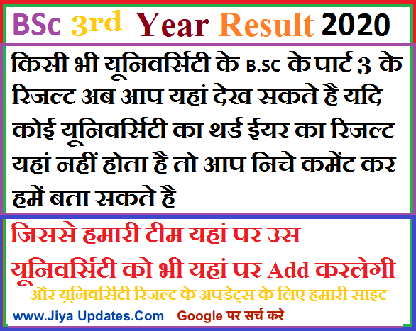 bsc 3rd year result 2020