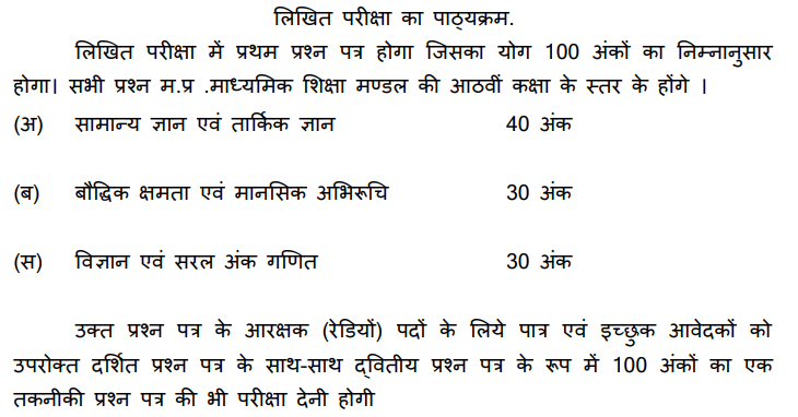 MP Police Constable Exam Pattern