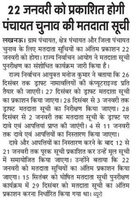 UP Panchayat Chunav Voter List