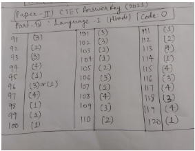 CTET Answer Key Paper 2 for Language - I for CODE O