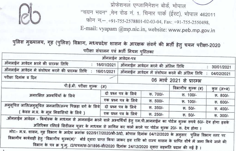 MP Police Constable Bharti Revise Date