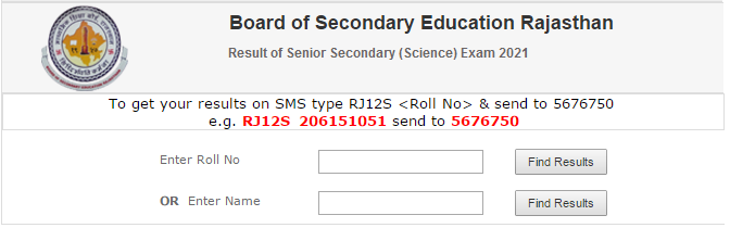 Rajasthan Board 12th Science Result 2021 Name Wise
