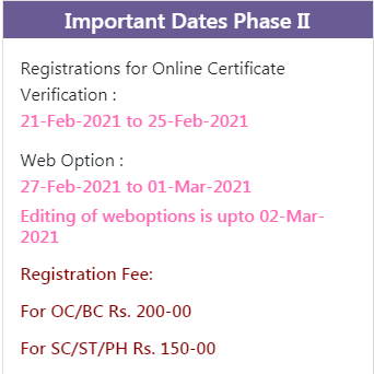 TS CPGET 2nd Round Seat Allotment Dates