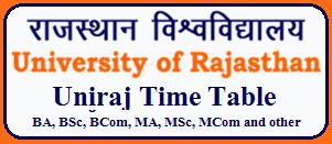 Rajasthan University Exam Time Table