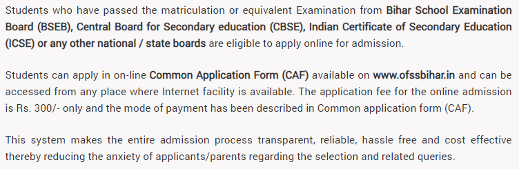 Who can apply for OFSS Bihar Admission