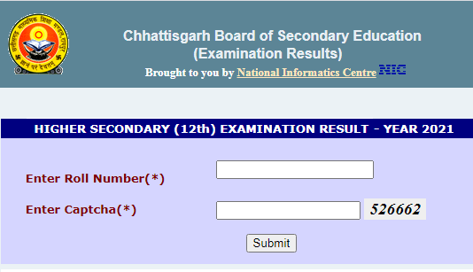 CGBSE 12th Result 2021 Arts Commerce Science