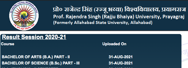Allahabad State University Result 2021 BA & BSc 3rd Year