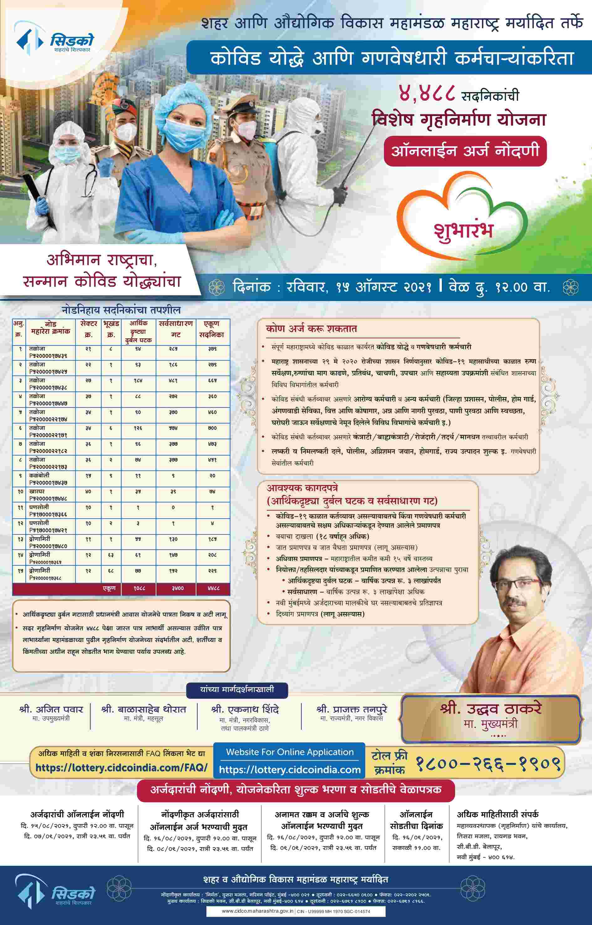 CIDCO Lottery for Covid Warriors Apply Online Registration