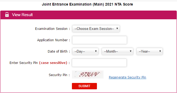 jeemain.nta.nic.in 2021 Result 4th Attempt