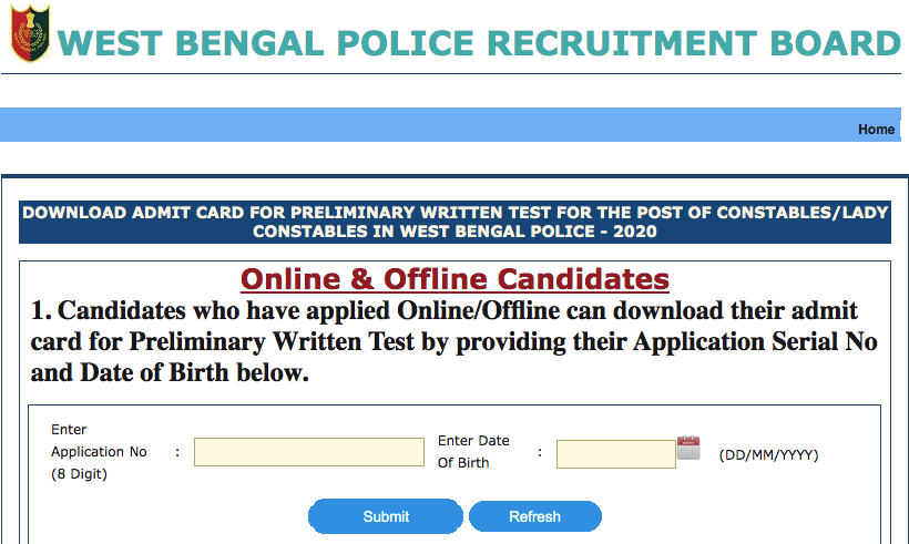 wb police constable admit card 2021 download link