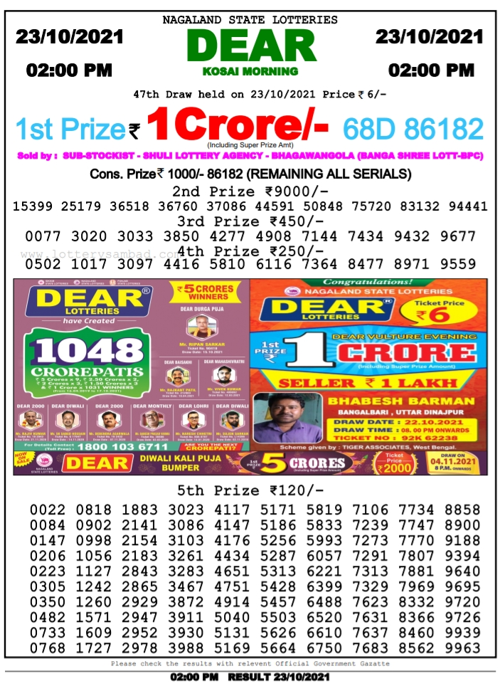 nagaland state lottery results today live